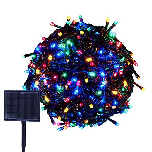 RPGT ソーラーLEDイルミネーションライト 53m 500LED ソーラーライトストリング USB充電 防水 8ライトモード ソーラー充電式 クリスマスガーデン装飾ライトストリング 屋外、クリスマスツリー、ガーデン、パス、ウェディングパーティデコレーション (マルチカラー)