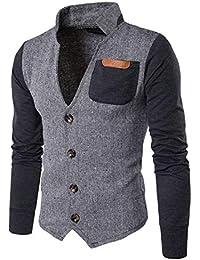 chenshiba-JP メンズカジュアルシングル着用アウターウエアステッチは襟スウェットシャツをスタンドアップ