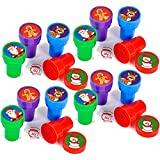 24 Christmas Assorted Bright Colored Plastic Stamps - Self Ink Christmas Stampers - Fun Gift, Party Favors, Party Toys, Goody