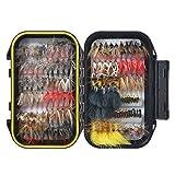 FishingSir マスのフライフィッシング用フライ:ドライフライ、ウェットフライ、ニンフ、ストリーマー、イマージャーフライルアー、そしてダブルサイド防水ポケット付きフライボックス