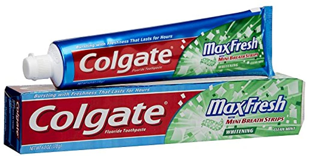 電化するうめきマティスColgate ブレスストリップハミガキクリーンミントMaxFreshホワイトニング 1パック