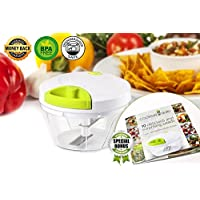 Manual Food Chopper: 3 Cups Vegetables, Garlic, Onion, Nuts Chopper Mincer, Banana and Apple Slicer - Chop, Mince and Slice for Salsa, Puree, Salad, Pesto - Bonus Recipe eBook by Cooking Guru