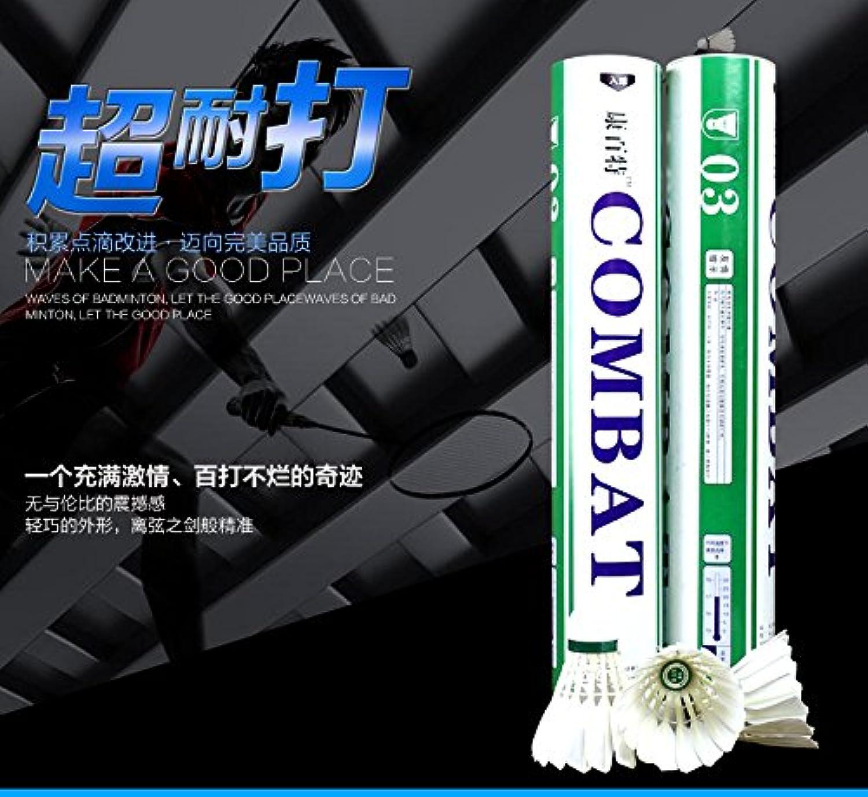 激安 シャトル 耐久型 バドミントン トレーニン 用 シャトルコック 球技用 (1ダース) 12個 COMBAT 緑×白