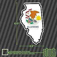 """イリノイ州フラグマップ形状–3.5"""" x6.0""""–プリントビニールデカールステッカーIL USA"""