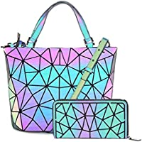 HotOne Geometric Luminous Purses Handbags Shard Lattice Eco-Friendly Leather Rainbow Holographic Purse