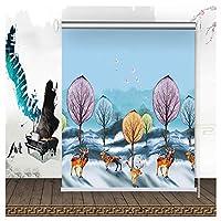 防水 窓カーテン 家の装飾 日焼け止め オクルージョンプライバシー シェーディング率100% 、2色 、34サイズ (Color : A, Size : 90cmx180cm)