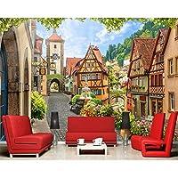 Wuyyii カスタム壁紙3D写真壁画イタリアの町通り風景リビングルームの寝室レストランの壁紙-350X250Cm