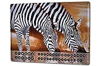 カレンダー Perpetual Calendar rative Vet Practice Warminski zebra Tin Metal Magnetic