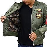 (リアルコンテンツ)REAL CONTENTS 中綿 ミリタリー ワッペン MA-1 ジャケット メンズ ブルゾン 防寒 アウター 大きいサイズ フライトジャケット 迷彩 裏地 61-y041-rc (XXL,KHAKI)