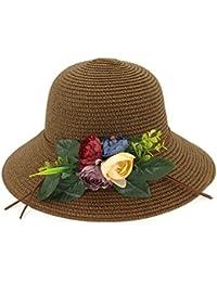 Ruiyue 夏のストロー帽子、大きな縁取り夏のビーチレジャー花麦わら帽子青少年帽子女性の女の子のための (色 : Brown)