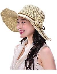 麦わら帽子 折りたためる 日よけ 日焼け防止 無地 花飾り 取り外すあご紐 フリーサイズ 手作り おしゃれ カーキ ピンク ベージュ 全3色