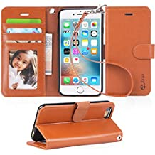iPhone 6s Case, iPhone 6 case, Arae Apple iPhone 6 / 6s [Wrist Strap] Flip Folio [Kickstand Feature] PU Leather Wallet case with ID&Credit Card Pockets (Light Brown)