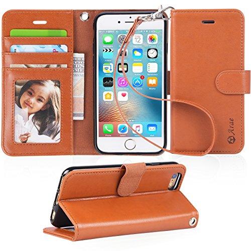 【Arae】iPhone6s ケース / iPhone6 ケース 手帳型「 スタンド機能 カードポッケト ストラップ」人気 おしゃれ 落下防止 衝撃吸収 財布型 おすすめ アイフォン6 / アイフォン6s 用 カバー ケース (ライトブラウン)