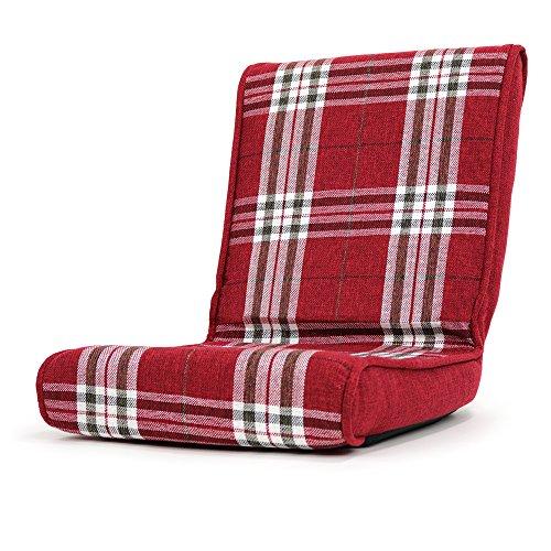 座椅子 コンパクト こたつ 椅子 フロアーチェア クローゼット 収納可能「秋月」 (折りたたみタイプ) (チェックレッド色)