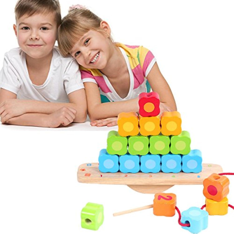 Wondertoys木製バランスゲーム数Lacing Beads Stacking Blocks学習早期教育玩具年齢3 4 5 years old and up子