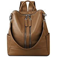 YALUXE Women's Convertible Real Leather Backpack Versatile Shoulder Bag (Upgraded 2.0)