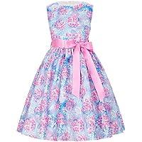 GRACE KARIN Girls Sleeveless Vintage Flower Dresses with Ribbon CL8997