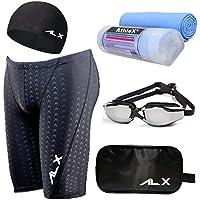 AthleX(アスレエックス) メンズ 水着 フィットネス 競泳水着 男性 スイミング ゴーグル 水中眼鏡 スイムキャップ セイムタオル セーム 大きいサイズ 5点セット