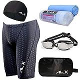 AthleX(アスレエックス) メンズ 水着 フィットネス 競泳水着 男性 スイミング ゴーグル スイムキャップ ハーフパンツ トランクス 大きいサイズ セット (5点セット L)