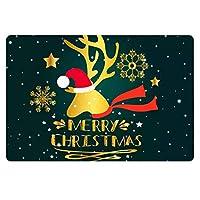 クラシッククリスマスドアマットゴールデンパターンメリークリスマスレタリング装飾マット耐久性ダートトラッパーマットノンスリップラバーバッキングラグイージークリーンカーペットソフトロープロファイルパッド用マウスギフトインテリアドアエントリー 80x50cm