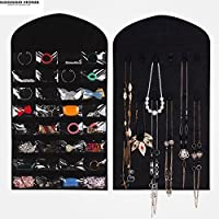 cream, 21 Cells & Up : GGGGGO HOME,Non woven fabric Jewelry, card, necklace Hanging Organizers/storagebag/hanging bag,80 x 46cm size,black/cream color