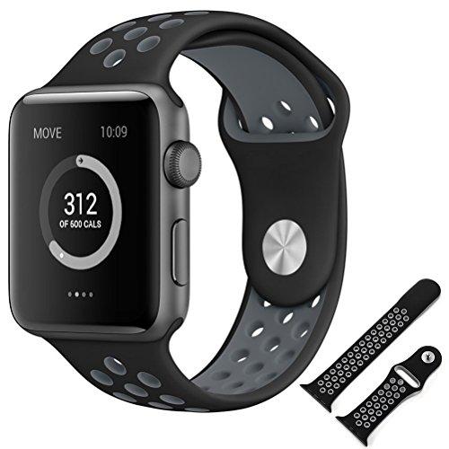 Apple Watch Nike + / Apple Watch / Apple Watch Series 2 バンド 【MaxKu 】交換ベルト 高級シリコンベルト 通気穴設計 柔軟でスポーツ仕様 10色選択 スポーツバンド シリコンアダプター付き (42mm, 黒&グレー)