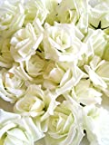 SeleCreate バラ ローズ 造花 フェイク フラワー 花 部分 のみ 50個 セット 白色
