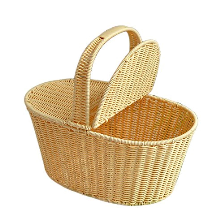 手織り収納バスケット ビーチバッグ ピクニックバスケット 織りポータブル  ホーム収納 フラワーバスケット