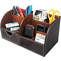 LEVIN 小物収納ボックス 7格PUレザーボックス 卓上 収納ケース リモコンラック 収納ボックス (ダークブラウン)