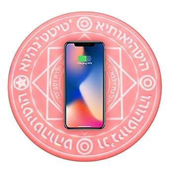 SPAHER [正品 保証付] 魔法陣充電器 円形無線置くだけ充電器 魔法の音効 急速充電 対応機種 iPhone8 Plus iPhoneX iPhoneXR iPhoneXS Max Samsung Galaxy Note9 (ピンク普通版(5W))