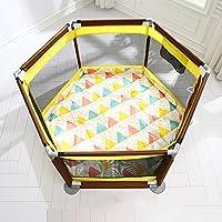 子供用フェンス6パネルキッズアクティビティセンターボーイズガールズアウトドアのための二重目的のパッドマットとボールを持つ屋内ポータブルベビープレイペンプレイヤード (色 : イエロー いえろ゜)
