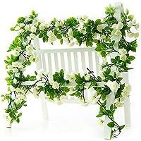 Li Hua Cat 造花 インテリア 人工バラ 観葉植物 藤の花 63インチ 3つの花輪 緑の葉 リング バラの造花 壁掛け セット お祝いに 結婚式 リビング 玄関やトイレ 部屋 祝日 飾り (ホワイト(バラ))