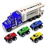 モンスタートランスポートトレーラー子供の摩擦Toy Semi Truck 1: 32スケールW /を実行する準備4Toyトラック( Colors May Vary )