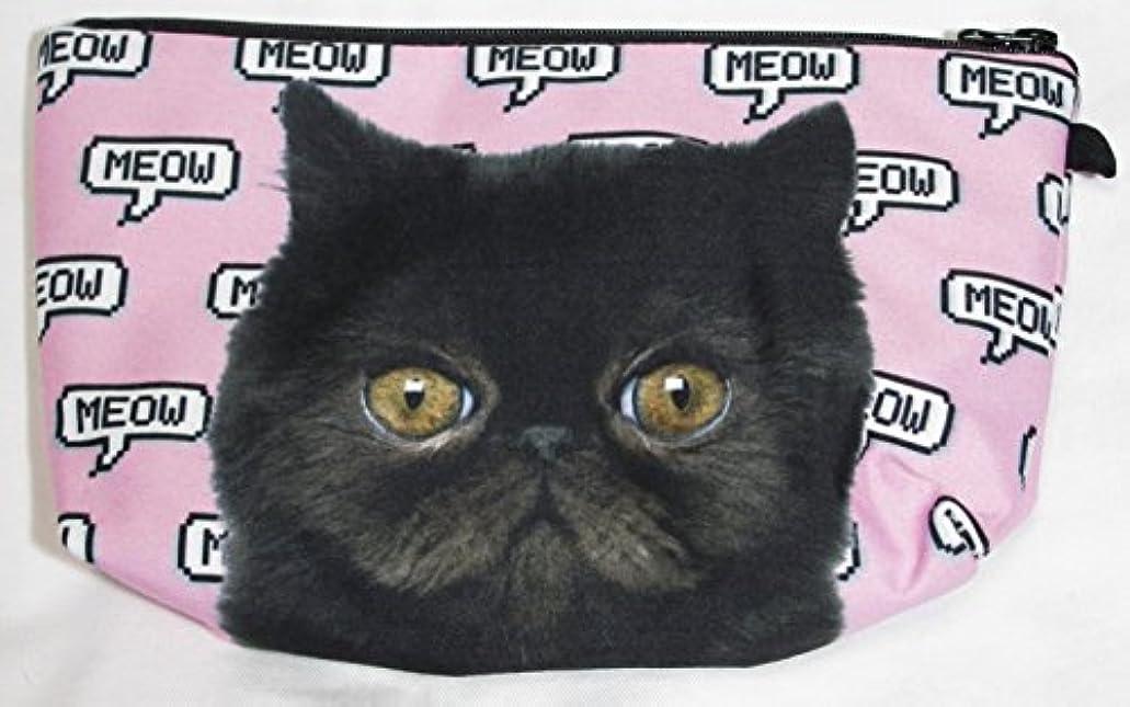輪郭許容十代【560kick】 黒猫 エキゾチック ショートヘア 柄 ポーチ メイクグッズ 収納 ぶさかわ