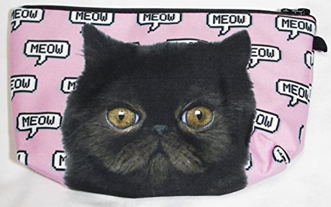 シリーズ呼び出す記念品【560kick】 黒猫 エキゾチック ショートヘア 柄 ポーチ メイクグッズ 収納 ぶさかわ