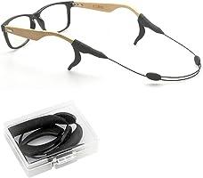 メガネ ストラップ& 耳フック セット 収納ケース付き 調整可能 ずり落ち防止 スチール製バンド ブラック ほとんどのメガネ用 男女兼用