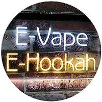 E-Hookah Cigs Décor Dual LED看板 ネオンプレート サイン 標識 White & Yellow 300 x 210 mm st6s32-i3105-wy