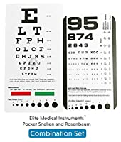 EMI Rosenbaum AND Snellen Pocket Eye Charts - 2 Pack by Elite Medical Instruments