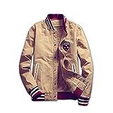 Spinas(スピナス)  着るだけで大人っぽくなる ブルゾン ジャケット アウター 長袖 メンズ ワッペン サファリ ボアジャケット 裏起毛 大きいサイズ 全2色(カーキ ネイビー) (XXXL, カーキ)