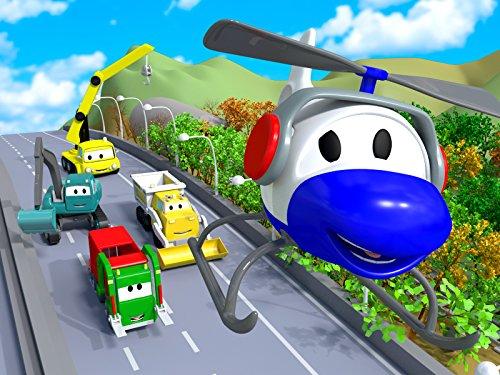 建設チーム: ダンプトラック、クレーン車とショベルカーがカーシティーにゴミ収集車 & UFOアトラクションを建てる