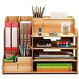 卓上収納ケース オフィス収納 机上収納ボックス 本立て 小物入れ 卓上収納 仕切り デスク上置き棚 大容量 書類整理 机上用品 ブラウン