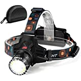 [NEWEST Technology]Led Headlamp Flashlight -T6 Spot(Zoomable)+COB Board Flood Light,10 Hours Long Lasting,High Lumen Waterproof USB Rechargeable,Up-Close Work Head Light for Outdoor Camping Hunting