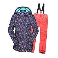 保温ボーイズ/ガールズスキースーツ防水パンツ+ジャケットセット冬のスポーツ厚手の服子供用キッズスキースーツ