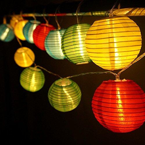 (YOUDEAR)ユーディア イルミネーションライト 提灯 20LED 電池式 ストリングライト 電飾 飾りライト マルチカラー