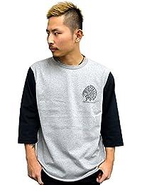 4831 BADASS バダス 7分袖Tシャツ INDIAN BBTEE ベースボールTシャツ グレー×ブラック (S)