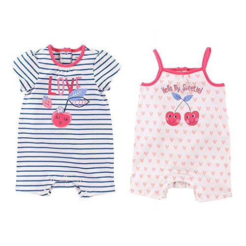05285e3fc55a4 Baby Nest サクランボベビー キャミソール+半袖ロンパース 2枚セット 女の子 赤ちゃん ベビー服 出産祝い コットン 9-12M  ご購入の際は、「サイズ表」を良くご確認の ...