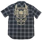(バンソン)VANSON フライングスカル 総刺繍 オンブレチェック 半袖 ウエスタンシャツ NVSS-503 M GRAY(グレー×ブラック系)