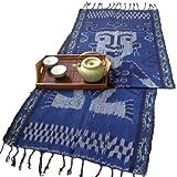 イカット(ロング) E 【インドネシアの飾り布、テーブルランナー タペストリー 壁掛け 箪笥の上掛け】 約180×46cm、和風洋風を問わず便利に使えるインテリアクロス
