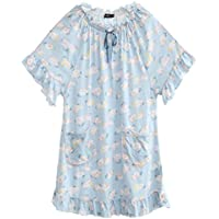 GAODUZI 夏の甘いかわいい女の子プリントドレススリープスカートコットンパジャマホームサービス下着半袖