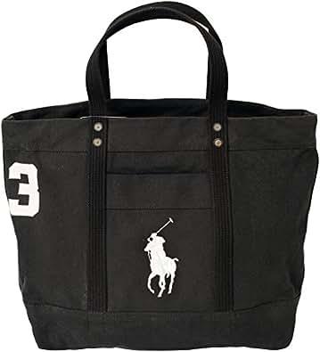 ラルフローレン バッグ ビッグポニー 刺繍 ブラック 40518225 ハンド トートバッグ ラージサイズ Big pony Ralph Lauren ag-667900-10